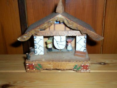 Vintage Old Music Box Swiss / Foreign Chalet Design Wooden Decorative Exterior