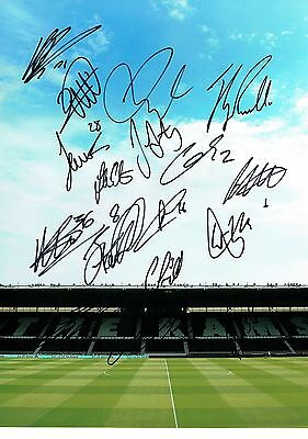 Derby County Squad Signed 16 x 12 Photo AFTAL COA The Rams 16 Autographs HUGHES