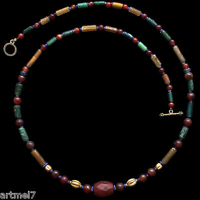 Ancient Roman Gold  Glass and Carnelian Restrung Necklace  3 AD jewellery R0158