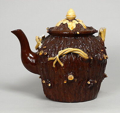A Very Unusual Large Antique Welsh Buckley Slipware Pottery Teapot