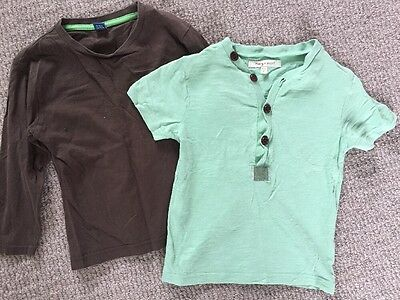 TU chocolate brown long sleeve t-shirt and green short sleeve top age 4-5
