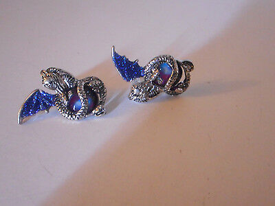 silver tone blue wing Dragon guarding treasure stud earrings with  gift bag
