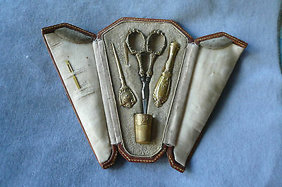 Pretty Ant.1800's French Silver Gilt Sewing Etui-Scissors,thimble,awl,needlecase