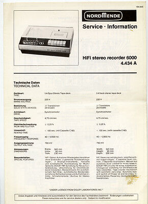Normende - 6000    Stereo Recorder  Service Information  ( Original Book )