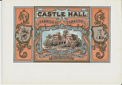 Four attractive old embossed cigar box labels, Castle Hall, Canadian Club etc.