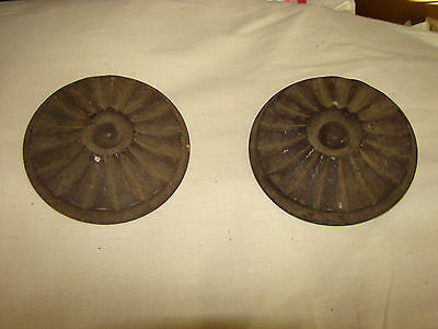 "2 ANTIQUE Victorian CIRCULAR medallion embellishments matching set OLD 4"" 1800'S"