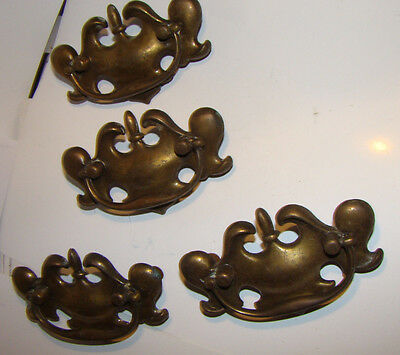 4  Vintage DIRTY BRASS WASHED Drawer Pull  Dresser Nightstand HARDWARE