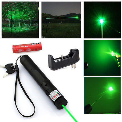 532nm 5mW Green Laser Pointer Light Pen Lazer Beam Power + Battery +Charger +Key