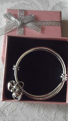 New Christen  Boy Or Girl Baby Silver  Bangle,bracelet  [Gift Box ]Pink Or Blue