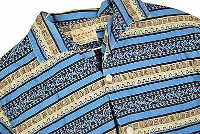 MENS M VTG 50s Penneys Towncraft Button Up Shirt Atomic Rockabilly TOP LOOP Blue