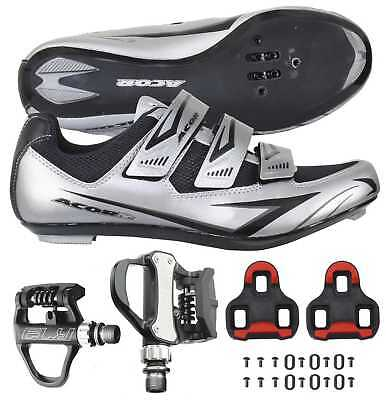 Venzo Road Bike Bicycle Cycling Shoes Look Keo with VP Pedals Cleats