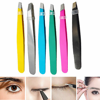 NT Stainless Steel Tweezers Hair Eyebrow Plucker Puller Beauty Nail Slanted Tip