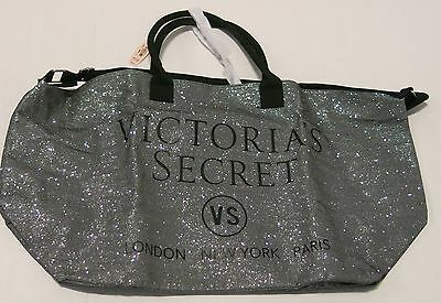 Victoria's Secret Silver Glitter Weekender Travel Tote Bag Limited Edition NWT