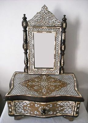 Handcrafted Syrian Mother of Pearl Mosaic Wood Mirror Frame Dresser