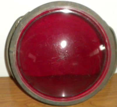 """NOVELTY BRASS WORKS Rare Red Glass Cover 9"""" Firehouse? Truck? Carnival?"""