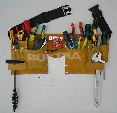 Useful Faux Leather Pouch Tool Belt Holder Electrician Construction Carpenter BD