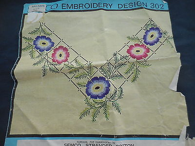 Embroidery Craft Semco Design 302 Table Runner 26 X 42 Cm Flowers Started