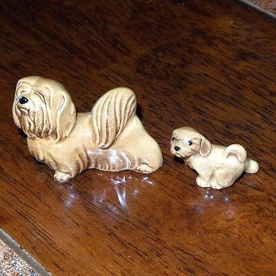 Hagen Renaker Lhasa Apso Facing Left with Puppy NICE Fast Shipping