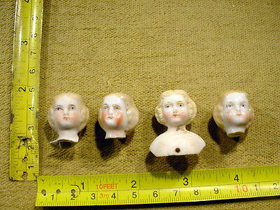4 x excavated painted vintage victorian Doll head age 1860 Kister German A 13035