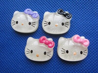 """40 Cute Glitter 7/8"""" Resin Hello Kitty Beads/Bow/Trims -4 Colors"""