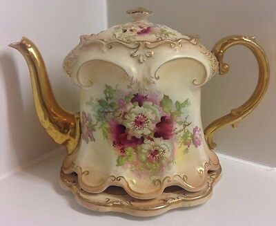Large Victorian Crown Devon English Hand Painted Teapot & Stand.