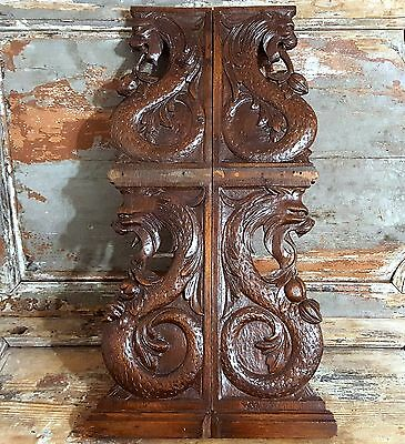 31 in PAIR GRIFFIN SCULPTURE 19th ANTIQUE FRENCH HAND CARVED WOOD CORBEL BRACKET