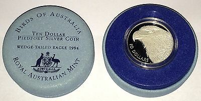 1994 Australian Birds Wedge Tailed Eagle $10 Piedfort Silver Proof Coin - Lot 4