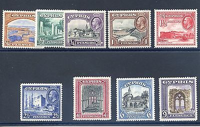 1934 Cyprus part set to 9 Pi, 9 stamps SG133-141 Mounted Mint  cat £51.25