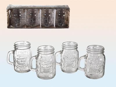 Set of 4 Mason Jam Jar Shot Glass Breakfast Juice Water Tumbler Glasses Party