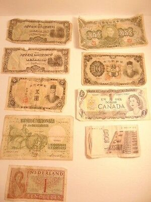 9 old mixed International currency notes -some WWII era