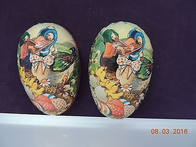 """VTG Paper Mache Egg Western Germany Ducks Babies & Pussywillows - 3 1/4 x 2"""""""