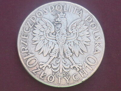 Poland 1932  10 Zlotych Large Silver Coin 22 grams