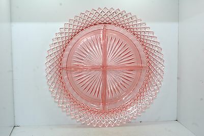 "Anchor Hocking Glass Miss America - 8 1/4"" Relish Plate Dish - 4 Part - Pink"
