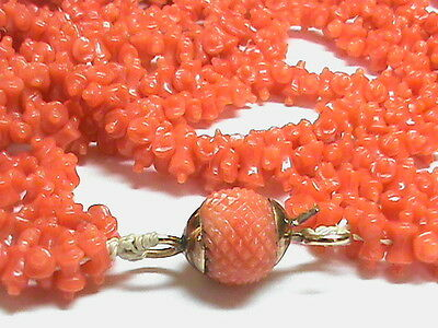 Antique Georgian 9k 9ct gold carved CORAL Necklace with clasp