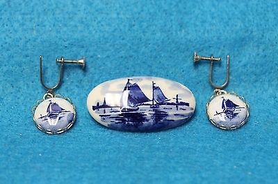 Estate Find Silver Tone Holland Delft Boat Scene Pin & Earring Jewelry Set 10.4g