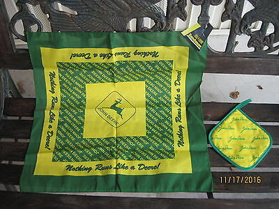 John Deere Bandanna Hanky & Pot Holder  Green Yellow