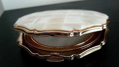 Vintage Stratton Mother Of Pearl Compact With Scalloped Edges