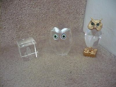 Three Glass Owls A Great Looking Trio