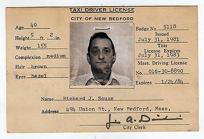 VINTAGE NEW BEDFORD MASSACHUSETTS Taxi Driver License SOUZA Mass MA Taxis