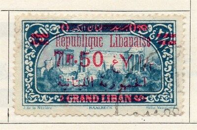 Great Lebanon 1928 Early Issue Fine Used 7.50p. Surcharged Optd 109530
