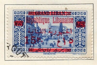 Great Lebanon 1928 Early Issue Fine Used 15p. Surcharged Optd 109560
