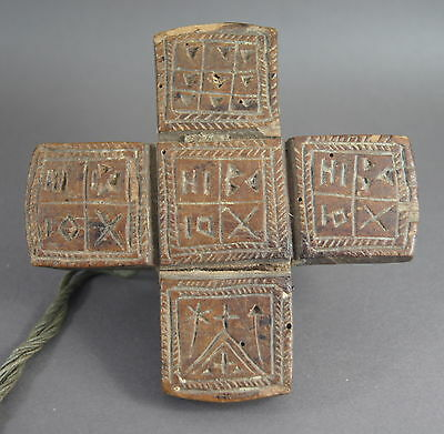 Fine Antique Greek Orthodox Carved Wooden Treen Bread Seal Cross Dated 1891