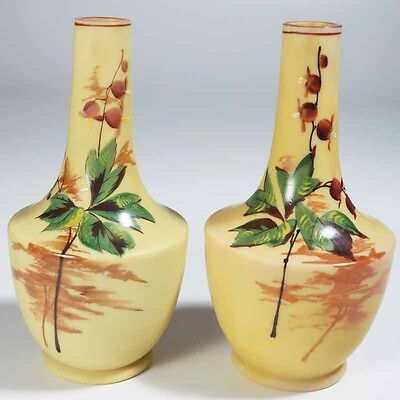 English - European Hand Painted Satin Glass - Pair of Vases