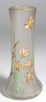 "Mont Joye 8.25"" Satin Frosted Vase with Enameled Flowers"