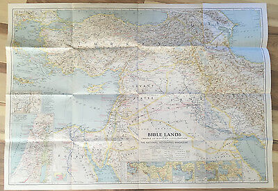 Vintage 1938 National Geographic Map of the Bible Lands
