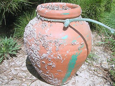 Old terracotta Octopus fishing clay pot with barnacles 2
