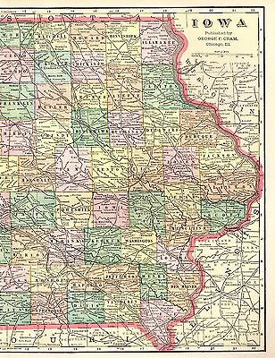 1901 Antique IOWA Map 1900s Vintage Atlas Map of Iowa State Map 3282