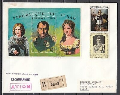* Chad, Scott cat. C63 A, B & D. Napoleon Bonaparte issues on a First day cover.