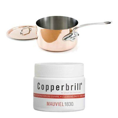 Mauviel Copper Stainless Steel Saucepan w/ Copperbrill Cleaner