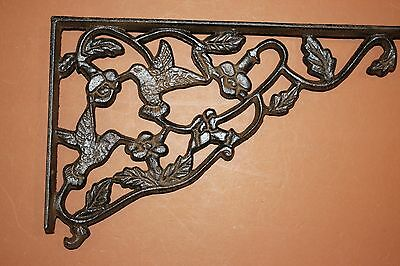 "(9) Hummingbird Design Patio Corbels, Huge Cast Iron Hummingbird, 11 7/8"", B-40"